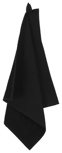 essuie-mains - 50 x 50 - coton gaufré noir - 5490039 - HEMA
