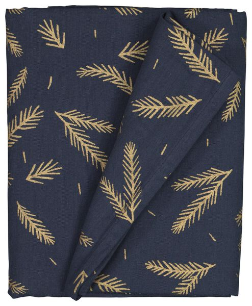 tablecloth 240x140 chambray cotton - dark blue with gold twigs - 5300093 - hema