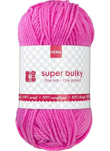 knitting yarn super bulky - pink super bulky fluor pink - 1400070 - hema