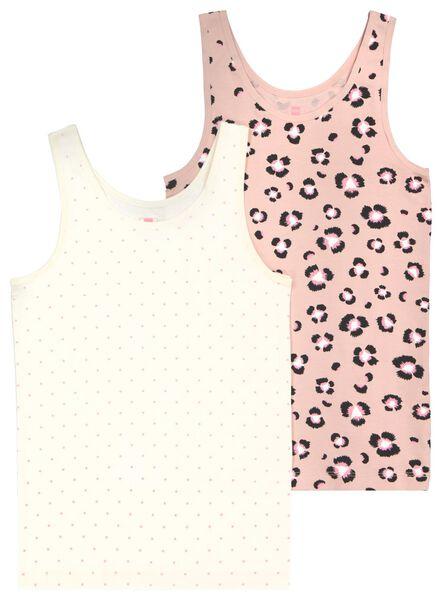 HEMA 2 Débardeurs Enfant Fleurs Coton/stretch Rose Pâle (rose pâle)
