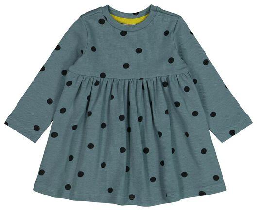 HEMA Baby-Kleid, Gerippt, Punkte Blau