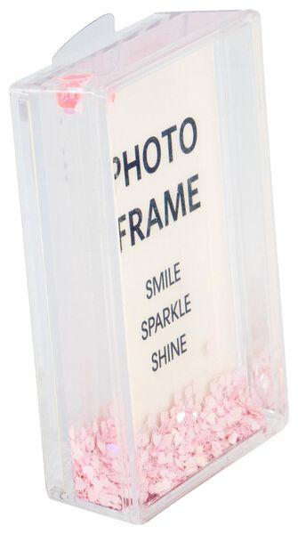cadre photo avec paillettes 10x6,5x2,5 roses - 60300530 - HEMA
