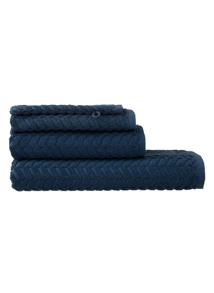 gant de toilette - qualité épaisse - bleu jean zigzag bleu foncé gant de toilette - 5200067 - HEMA