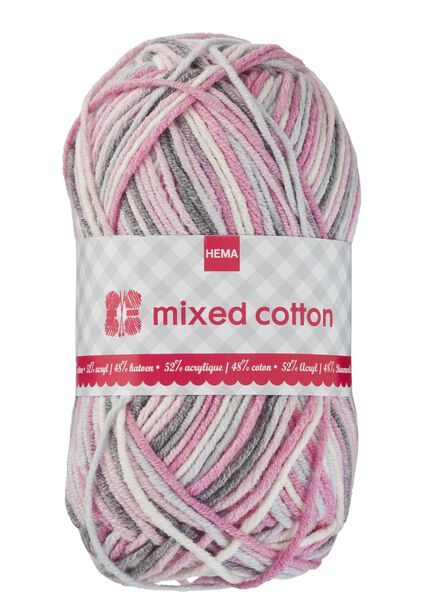 Strickgarn Mixed Cotton – rosa/weiß/grau - 1400157 - HEMA