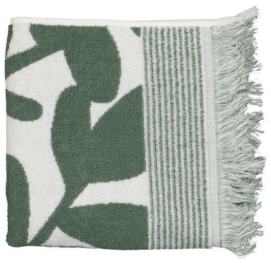 serviette de bain - 50x100 - qualité épaisse - feuilles vert/blanc - 5210112 - HEMA