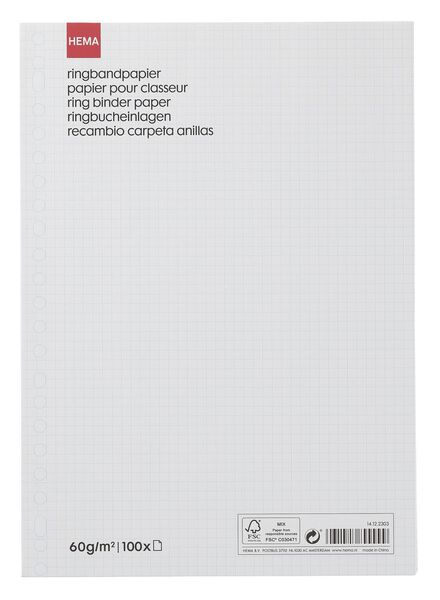 100er-Pack Ringbucheinlagen, kariert (5 x 5 mm) - 14122303 - HEMA