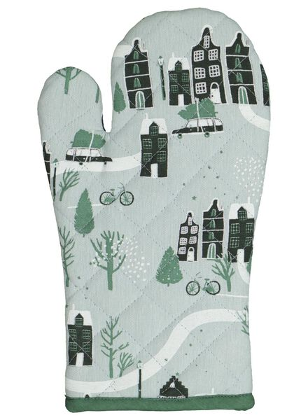 gant de four petites maisons - vert - 5400162 - HEMA