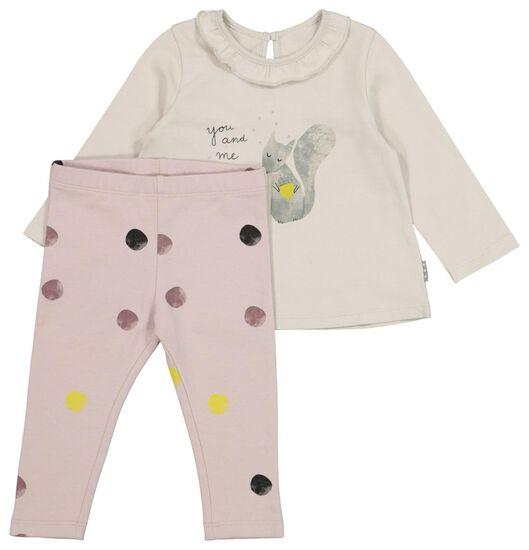 HEMA Newborn-Set, T-Shirt Mit Hose, Elastische Biobaumwolle, Eichhörnchen Weiß