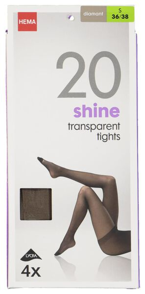 4 collants brillants 20 deniers diamant diamant - 1000010833 - HEMA
