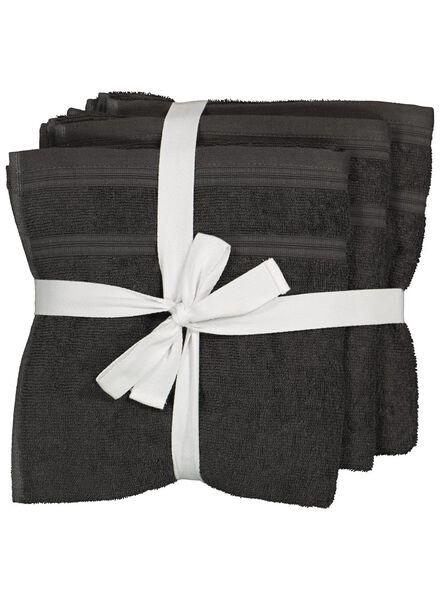4serviettes de bain - 50 x 100 cm - coton avec rPET - gris foncé - 5230002 - HEMA