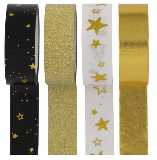 washi tape 5m/3m goud 4 stuks - 25300046 - HEMA