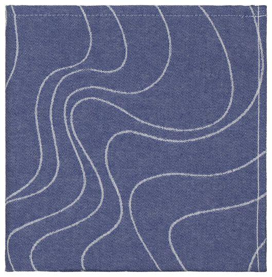 torchon - 65 x 65 - coton - bleu vagues - 5490033 - HEMA