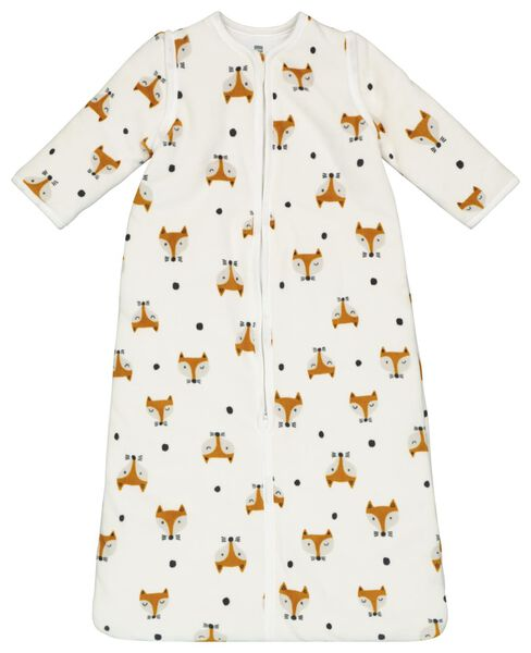 baby sleeping bag - padded - zip-off sleeves - foxes white off-white off-white - 1000020000 - hema