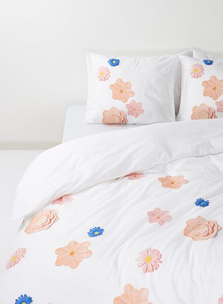 duvet cover - soft cotton - 200 x 200 cm - white flowers - 5700039 - hema