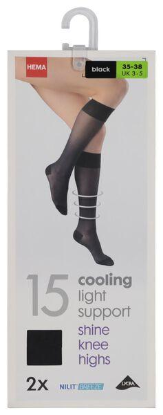 2-pack 15 denier nylon knee socks light control black black - 1000019394 - hema