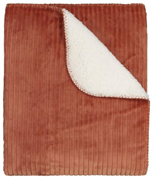 plaid côtelé 130x150 - sherpa - terracotta - 7322030 - HEMA