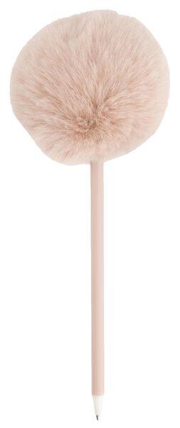balpen met roze pompon zwartschrijvend - 14410025 - HEMA
