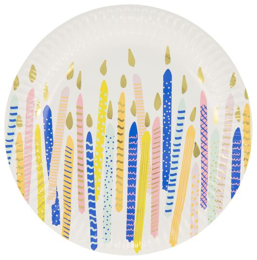 8 assiettes en papier - 22.5 cm - anniversaire - 14230177 - HEMA