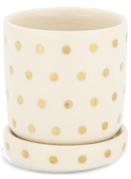 bloempot Ø 7 cm - keramiek - wit/goudkleurig - 13392087 - HEMA