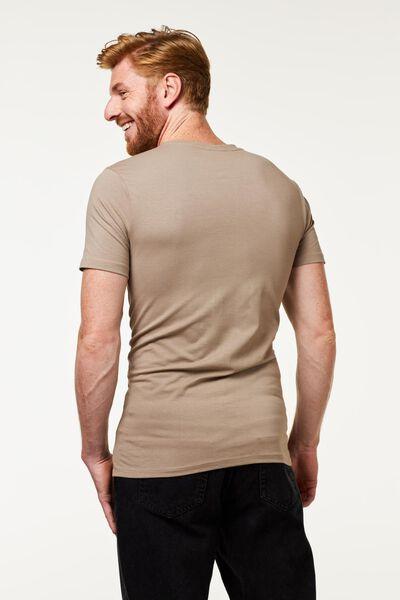 t-shirt homme slim fit col en V profond beige beige - 1000016219 - HEMA