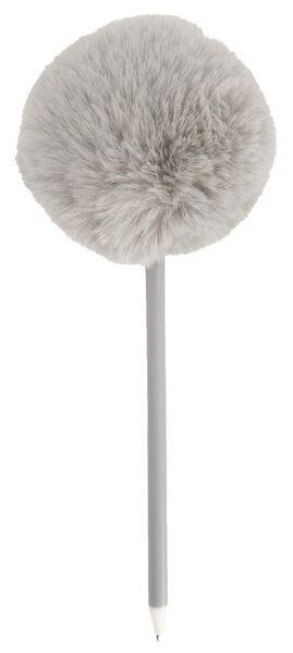 balpen met grijze pompon zwartschrijvend - 14410027 - HEMA