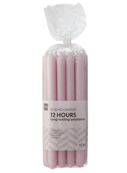household candles - 29 cm - pink - 12x light pink 2.2 x 29 - 13503166 - hema