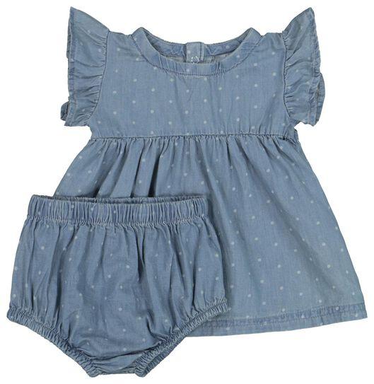 Babykleiderroecke - HEMA Newborn Set, Biobaumwolle Jeansfarben - Onlineshop HEMA