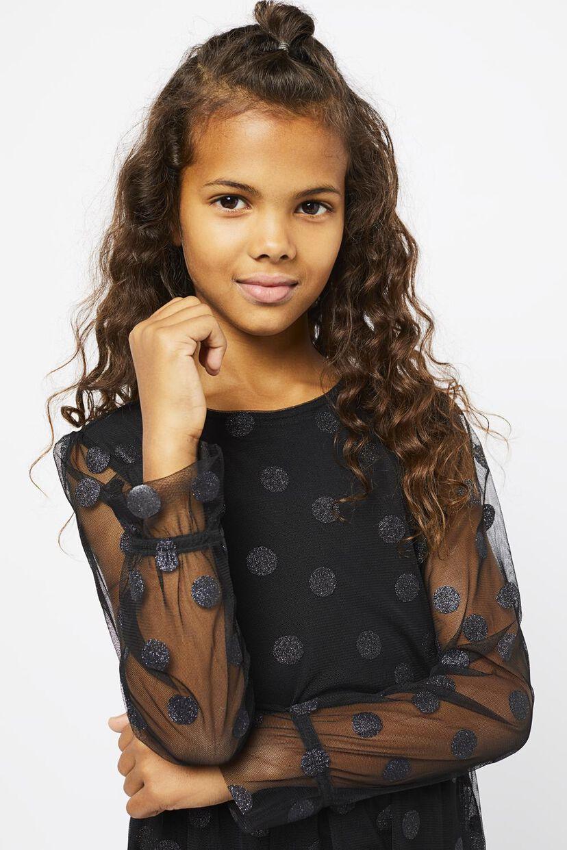 Kinder-Kleid, Mesh, Punkte schwarz - HEMA
