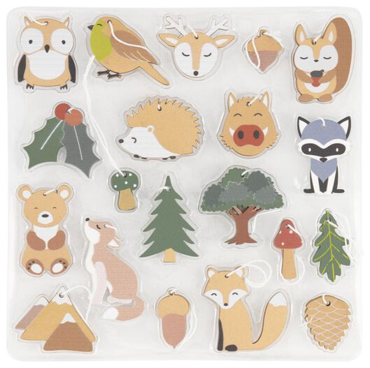 Image of HEMA 20 Christmas Hangers Wood Animals