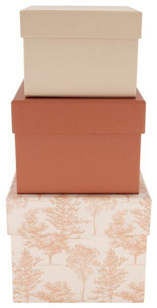 3 boîtes de rangement en carton rose arbre - 39822220 - HEMA