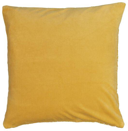 housse de coussin - 50x50 - velours - jaune - 7320010 - HEMA