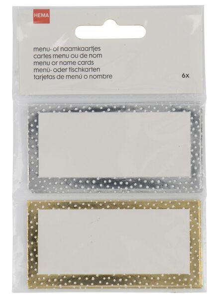 6 Tisch- oder Namenskarten, 4 x 8 cm, silbern/gold - 25600092 - HEMA