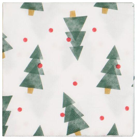 20 serviettes 24x24 - papier - sapins de noël - 25600157 - HEMA