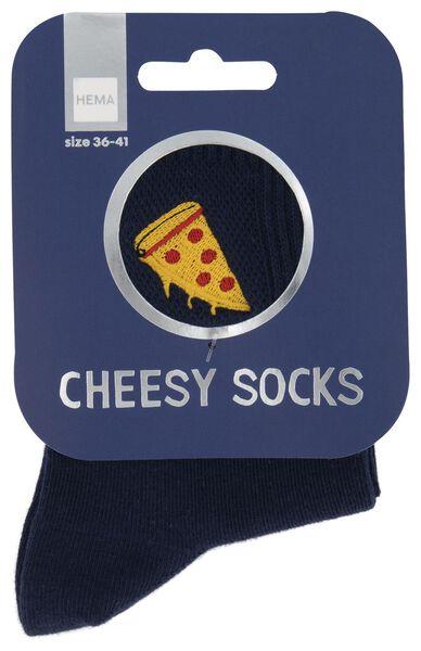 Socken, Größe 36-41, Cheesy Pizza, blau - 61140082 - HEMA