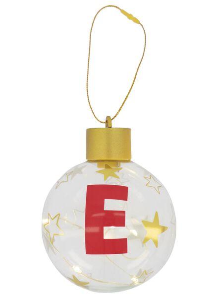 LED Christmas ball glass Ø 8 cm letter E gold E - 25500044 - hema