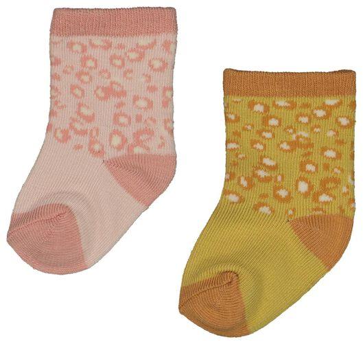 2-pack newborn baby socks with bamboo yellow yellow - 1000018742 - hema