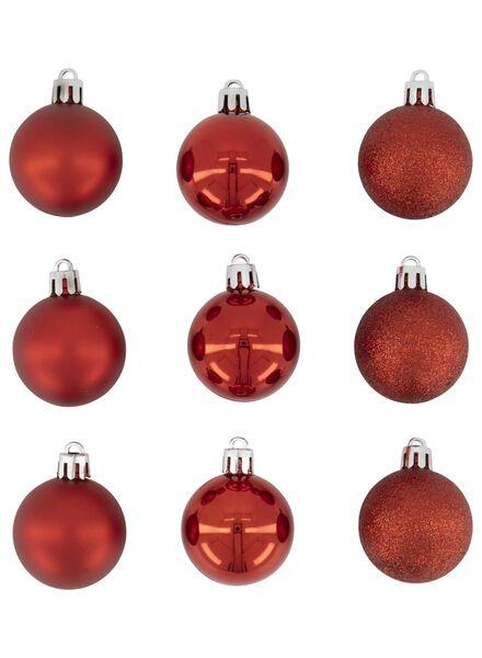9 Weihnachtsbaumkugeln, rot, Ø 3,8 cm - 25103174 - HEMA