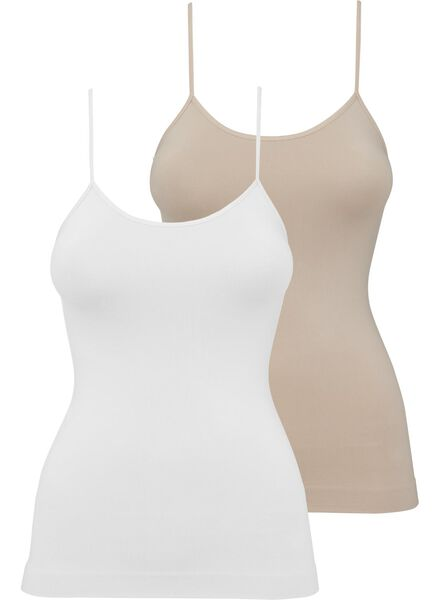 2-pack figure-shaping women's vests white white - 1000007764 - hema