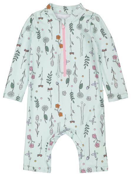 Babybademode - HEMA Baby Badeanzug Mit UV Schutz, Blumen Mintgrün - Onlineshop HEMA
