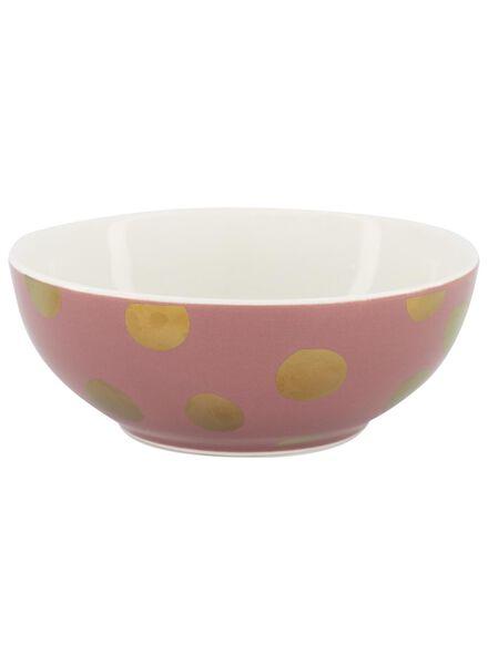schaal - 15 cm - roze met gouden stip - 9602089 - HEMA