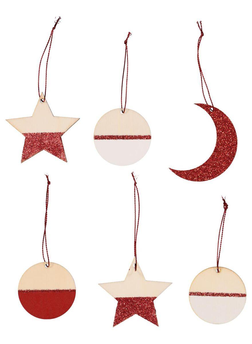 6 décorations de Noël en bois - 25100922 - HEMA