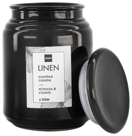 bougie parfumée dans un pot en verre Ø10x14 lin - 13502454 - HEMA