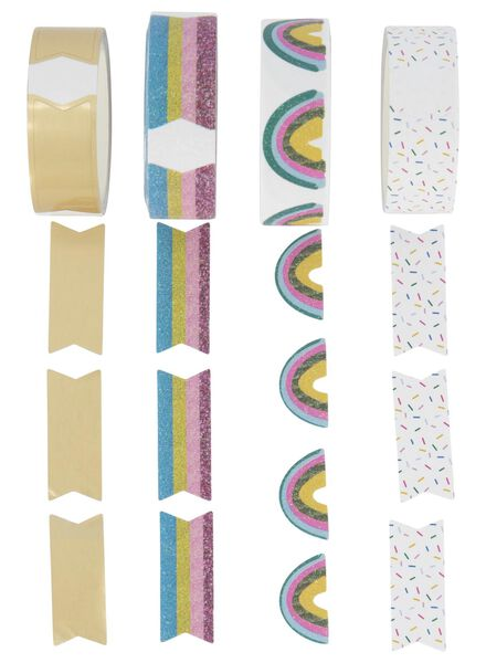 4 washi tapes avec autocollants - 14700251 - HEMA