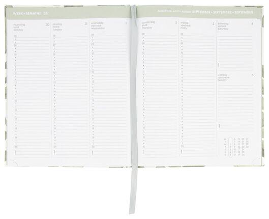 agenda de bureau 2021 multilingue - 26x21 - textile feuilles - 14622222 - HEMA