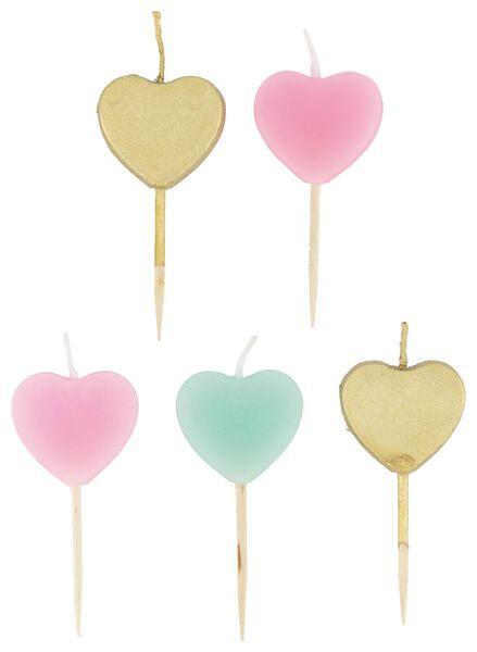 5 bougies d'anniversaire coeur - 14230196 - HEMA