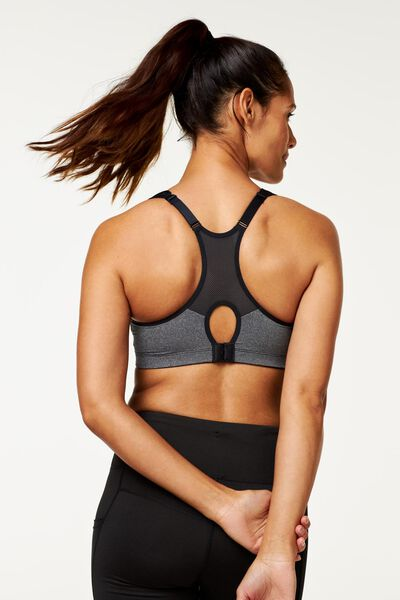 padded sports bra medium-impact sports grey melange grey melange - 1000018832 - hema