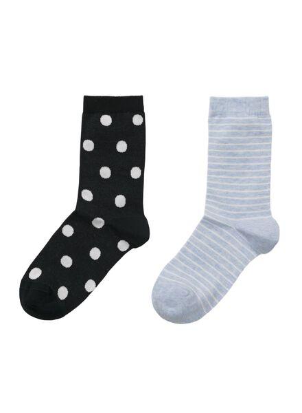 2-pack women's socks organic cotton dark blue dark blue - 1000006851 - hema