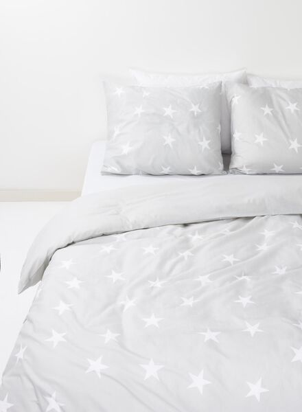 duvet cover - cotton - 140 x 200 cm - grey stars - 5700087 - hema