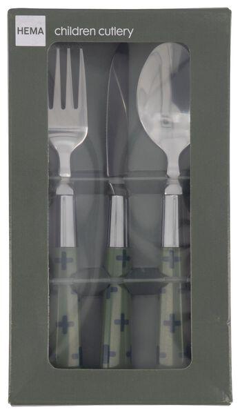 3-piece children's cutlery set small green cross - 9905076 - hema