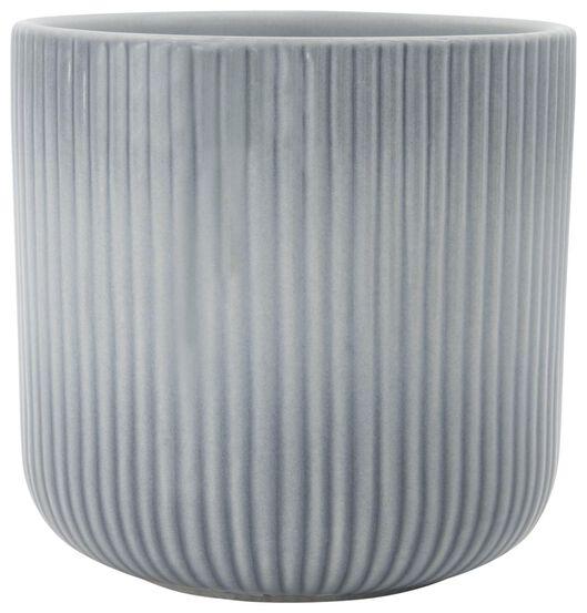 Blumentopf, Ø 13 x 13 cm, Keramik, Rippen, blau - 13311031 - HEMA